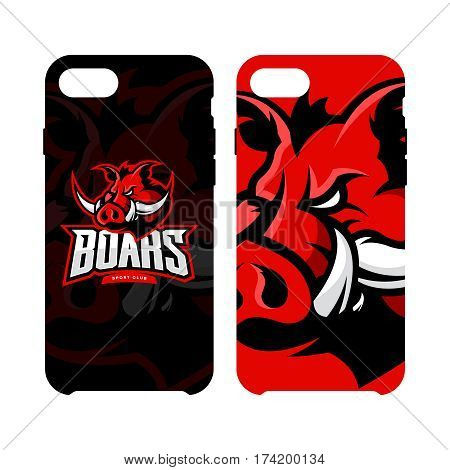 Furious boar sport club vector logo concept smart phone case isolated on white background. Web infographic team pictogram design. Premium quality wild animal artwork cell phone cover illustration.
