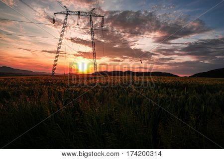 Dramatic storm clouds at the sunset ,near Deva,Romania
