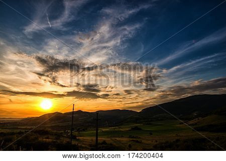 Beautiful sunset and clouds near Deva, Romania