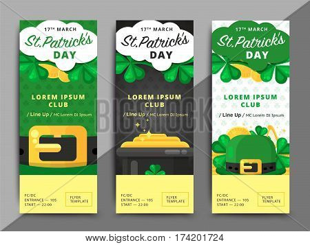 St. Or Saint Patrick's Day Vector Flyer Template Design. La Fheile Padraig Banner. Greeting Letter O