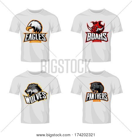 Furious panther, wolf, eagle and boar sport vector logo concept set isolated on white t-shirt mockup.  Modern team pictogram design. Premium quality wild animal and bird head t-shirt tee print illustration.