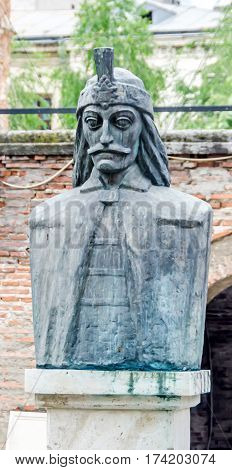 Bucharest, Romania - May 25, 2014: The Statue Of Vlad Tepes - Dracula. The Voievodal Palace, Curtea