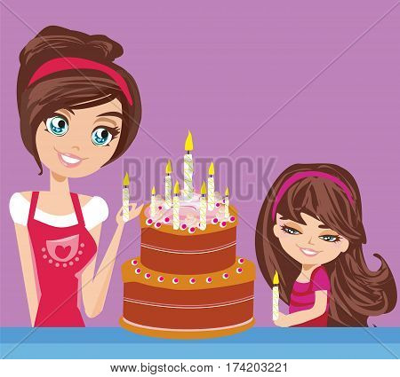 Mother with the daughter decorate the cake , vector illustration