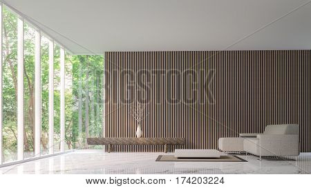 Modern peaceful living room in the forest 3D Rendering Image minimalist style marble white floor decorated wall with wood lattice basic Simple bright and clean There are large windows looking out to experience nature up close.