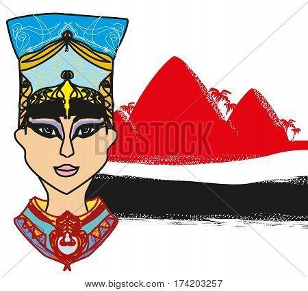 Egyptian queen portrait on desert landscape - abstract banner , vector illustration