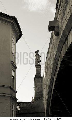 Saint Nicholas at the Charles Bridge in the old Town of Prague