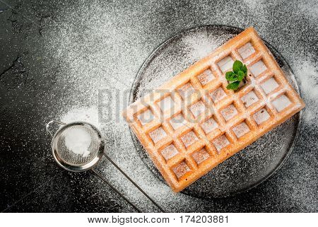 Belgian Waffles, Sprinkled With Powdered Sugar