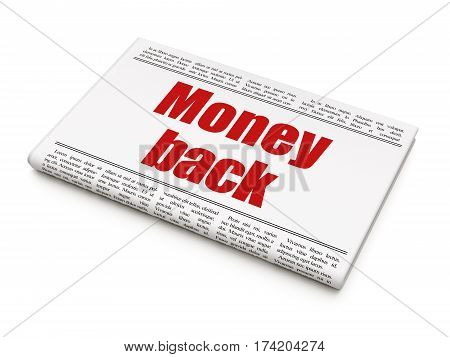 Business concept: newspaper headline Money Back on White background, 3D rendering