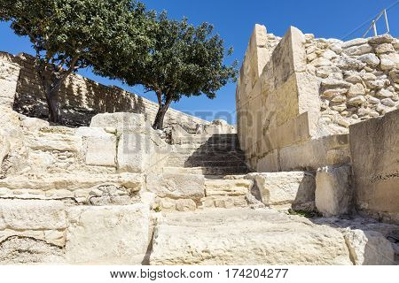 Archaeological remains of Kourion city-kingdom destroyed in a severe earthquake in 365 AD.