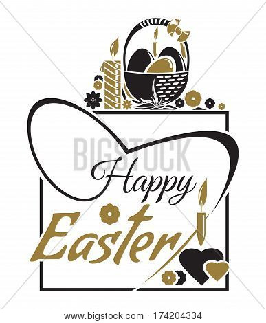 Happy Easter. Easter lettering. Typographic design. Vector illustration for Easter greeting card