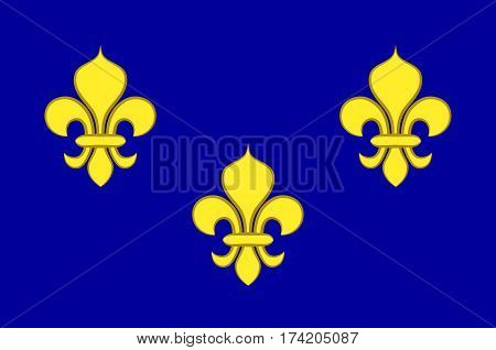 Flag of Ile-de-France also known as the region parisienne is one of the 18 regions of France and includes the city of Paris. Vector illustration