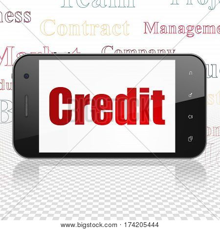 Finance concept: Smartphone with  red text Credit on display,  Tag Cloud background, 3D rendering