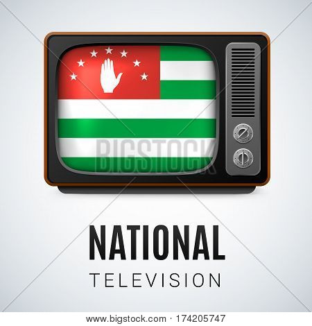 Vintage TV and Flag of Abkhazian as Symbol National Television. Tele Receiver with Abkhazian flag
