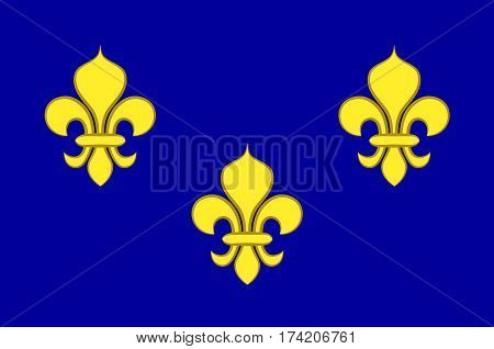 Flag of Ile-de-France also known as the region parisienne is one of the 18 regions of France and includes the city of Paris