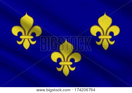 Flag of Ile-de-France also known as the region parisienne is one of the 18 regions of France and includes the city of Paris. 3d illustration