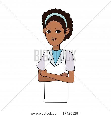 young woman with laboratory or medical robe  icon image vector illustration design