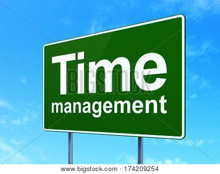 Time concept: Time Management on green road highway sign, clear blue sky background, 3D rendering