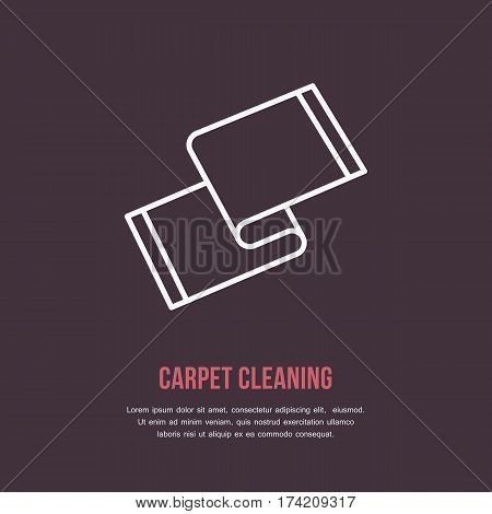 Carpet cleaning icon, line logo. Flat sign for housework company. Logotype for dry cleaning business.