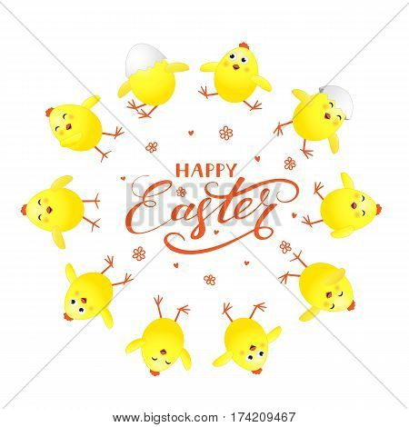 Holiday lettering Happy Easter and circle of funny yellow chicks on white background, illustration.