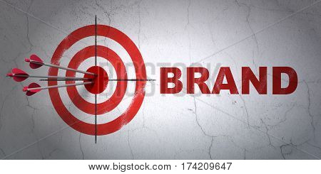 Success advertising concept: arrows hitting the center of target, Red Brand on wall background, 3D rendering