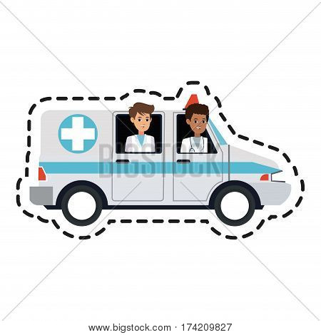 paramedics and ambulance  health icon image vector illustration design