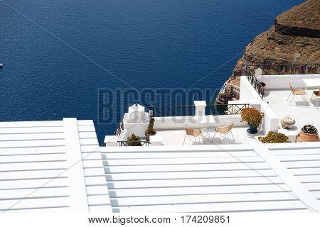 The sea view terrace at hotel Santorini island Greece