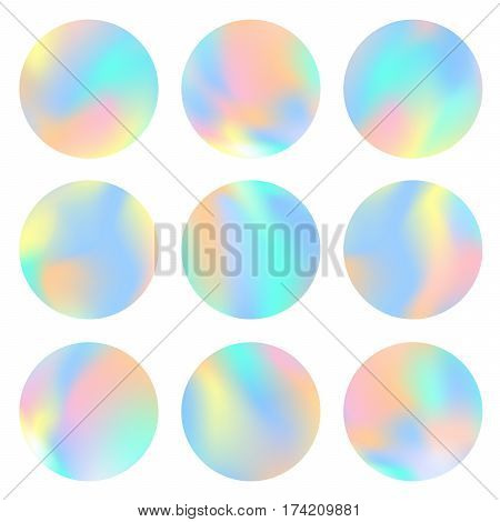 Holographic round frames set. Trendy backdrops for logos signs or letering. Hologram bubbles. Pastel smooth textures. Modern vector backgrounds for web design or printed products.