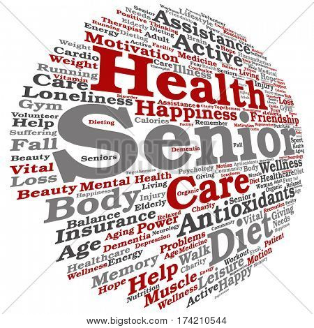 concept conceptual old senior health, care or elderly people abstract word cloud isolated on background