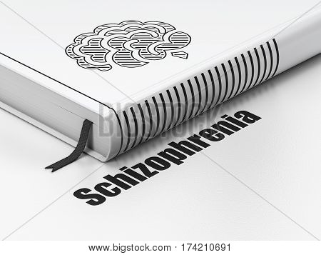 Medicine concept: closed book with Black Brain icon and text Schizophrenia on floor, white background, 3D rendering