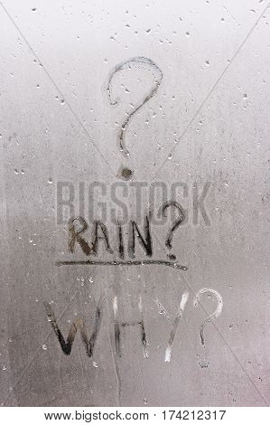 The Inscription On The Sweaty Window From Humidity - Rain English Capital Letters, The Window Is Rai