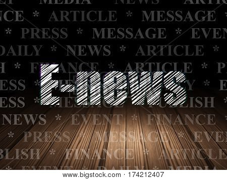 News concept: Glowing text E-news in grunge dark room with Wooden Floor, black background with  Tag Cloud