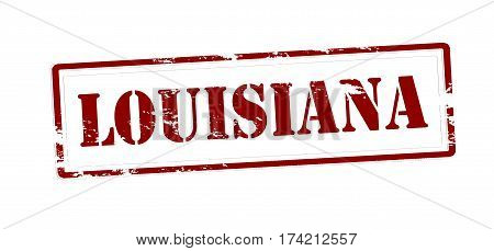 Stamp with word Louisiana inside vector illustration