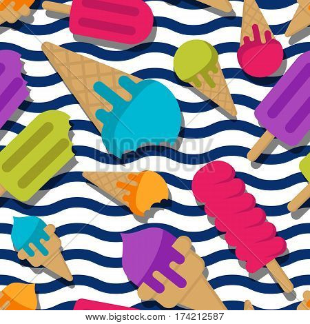 Vector Seamless Summer Pattern With Multicolor Ice Cream On Wavy Stripes. Cones Ice Cream And Ice Lo