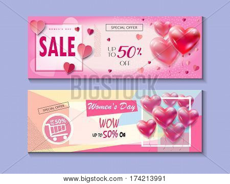 Sale Discount banners set for Happy Women's Day, Eighth March. Spring Holiday Sale, gift card, coupon. Futuristic, modern design. Marketing. Advertising. Vector illustration