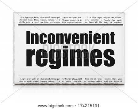 Political concept: newspaper headline Inconvenient Regimes on White background, 3D rendering