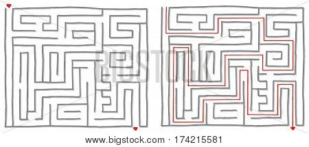 Maze labyrinth game with solution, find the way. Vector illustration.