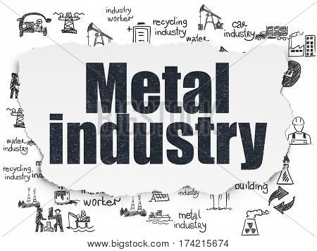 Manufacuring concept: Painted black text Metal Industry on Torn Paper background with  Hand Drawn Industry Icons