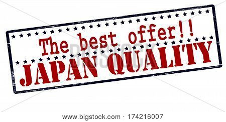 Stamp with text the best offer Japan quality inside vector illustration