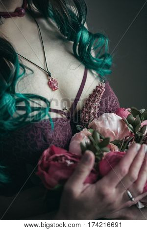 Vintage Photography. Informal Girl With Green Hair In Burgundy Linen With Ruffles And A Bouquet Of F