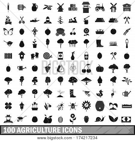 100 agriculture icons set in simple style for any design vector illustration