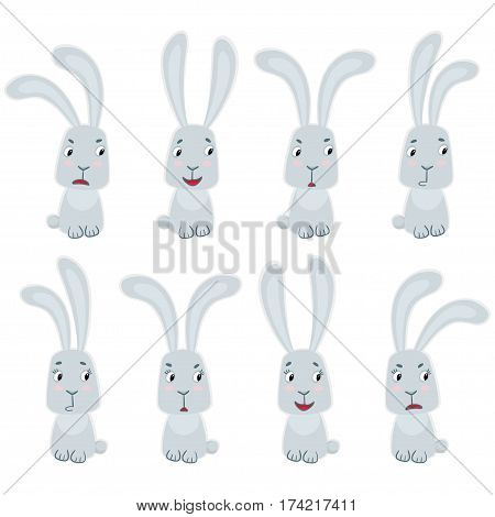 Set of cute rabbits. Funny little bunny in cartoon style isolated on white.
