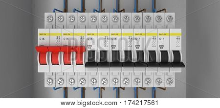 Electrical circuit breakers. 3D. 3D rendering. Knife switch.