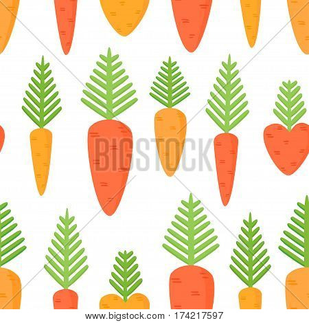 Vector seamless pattern with cartoon carrots. Carrots for Easter Bunny.