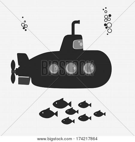 Submarine undersea with periscope and fishes. Vector
