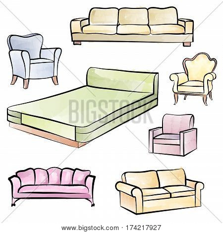 Furniture set. Interior detail isolated color outline collection: bed, sofa, settee, armchair.