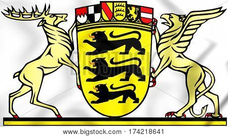 Baden-wurttemberg Coat Of Arms, Germany. 3D Illustration.
