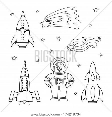 Card with space objects: rockets, stars, comet and astronaut. Hand-drawn elements in space theme