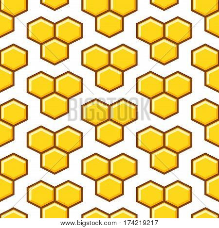Honeycomb yellow seamless vector pattern. Reticulate honey repeating white background.