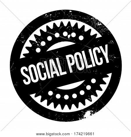 Social Policy rubber stamp. Grunge design with dust scratches. Effects can be easily removed for a clean, crisp look. Color is easily changed.