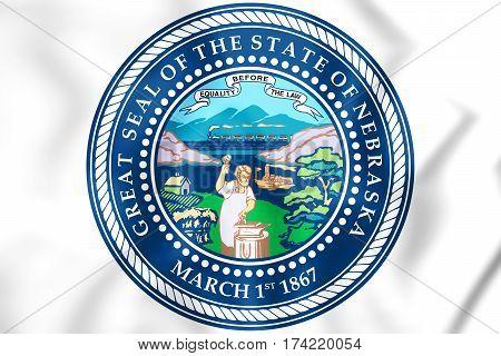 State Seal Of Nebraska, Usa. 3D Illustration.